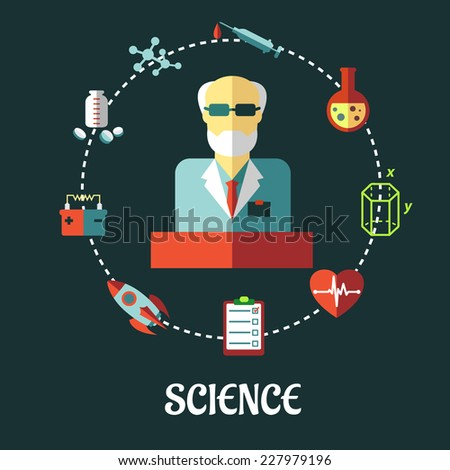 Different sciences flat  concept with the silhouette of a scientist surrounded by medical, biology, space, mechanic, geometry and scientific icons in a circle, vector illustration - stock vector