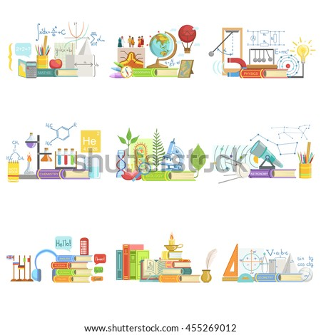 Different Sciences Related Objects Composition - stock vector