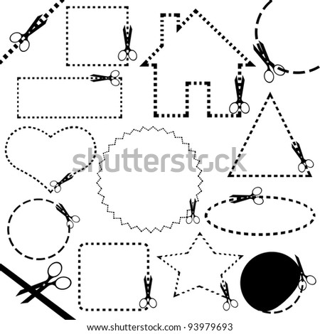 Different scissors cutting line - stock vector