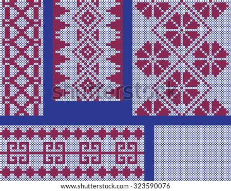 Different seamless cross-stitch embroidery patterns