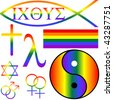 different secular, jewish, buddhist, zen and christian gay symbols - stock vector