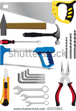 different set of hand tools isolated on white - stock vector