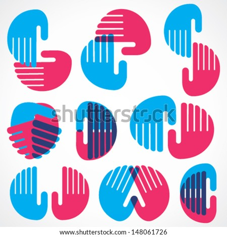 different shape design with hand stock vector - stock vector
