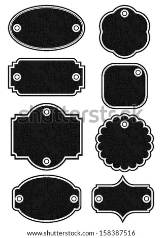 Different Shape Vintage Retro Dark Crackle Label Set With Holes Isolated On White Background