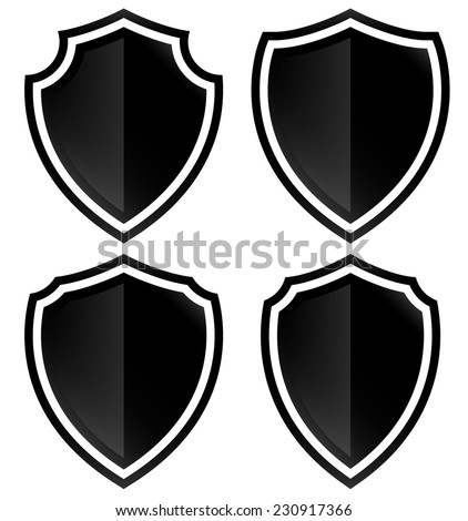Different shield shapes - stock vector