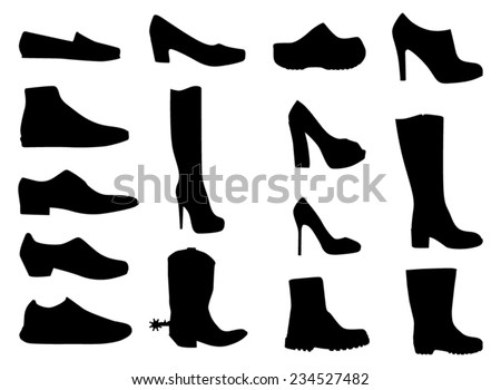 Different shoes - black vector drawings - stock vector