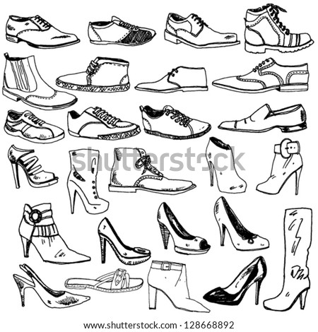 Different Shoes Hand Drawn - stock vector