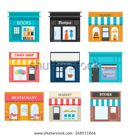 Different shops and stores icons set. Includes books store, boutique, bakery, candy shop, coffee shop, restaurant, barber shop, market - stock vector