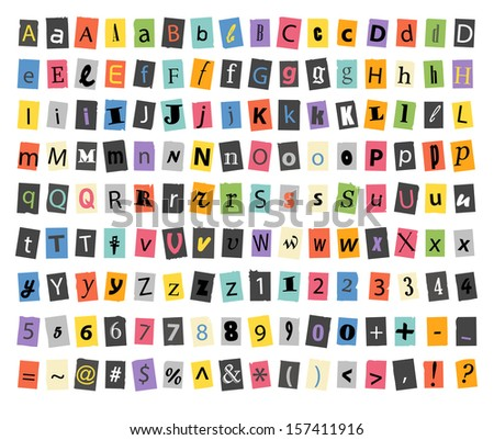 Different sign and symbols on paper sheets isolated on white - stock vector