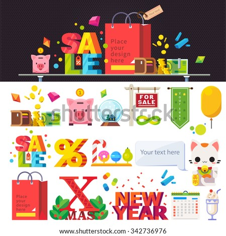 Different signs and lettering: new year, xmas, christmas, flag, sale, percent sign, candy, apple, pear, money, coins, retail. Stock flat vector illustration set.  - stock vector