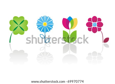 different signs in the form of plant - stock vector