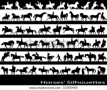 Different silhouettes of moving horses - stock vector