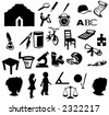 Different silhouettes of school objects and related - stock vector