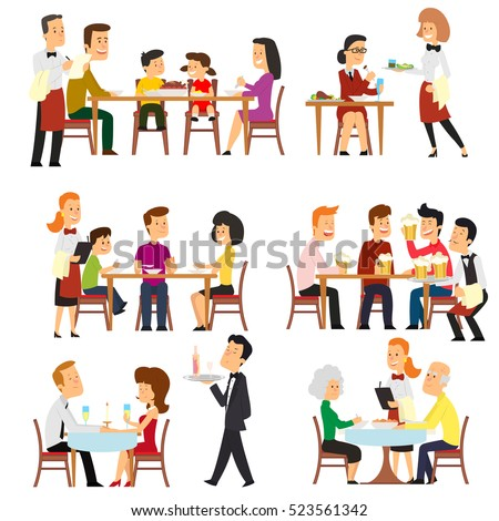 different situations in the restaurant. Waiters serve the tables in the cafeteria. isolated on white background vector illustration.