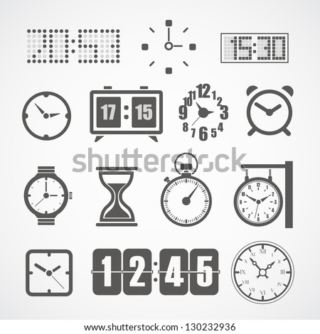 Different slyle of clock vector collection - stock vector