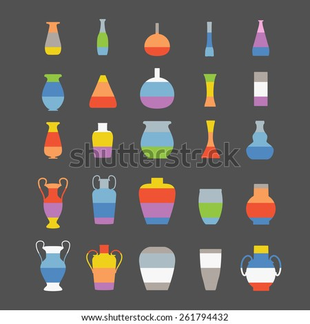 Different slyle of vases set - stock vector