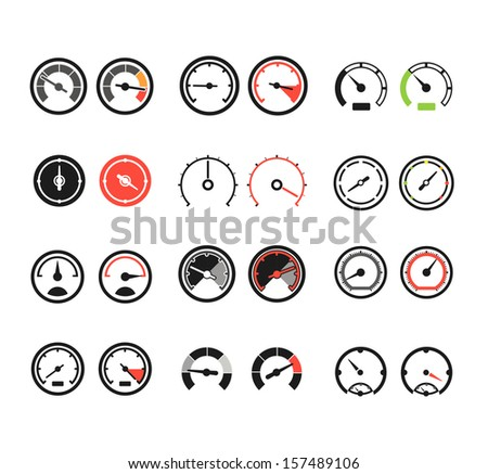 Different slyles of speedometers color vector collection - stock vector