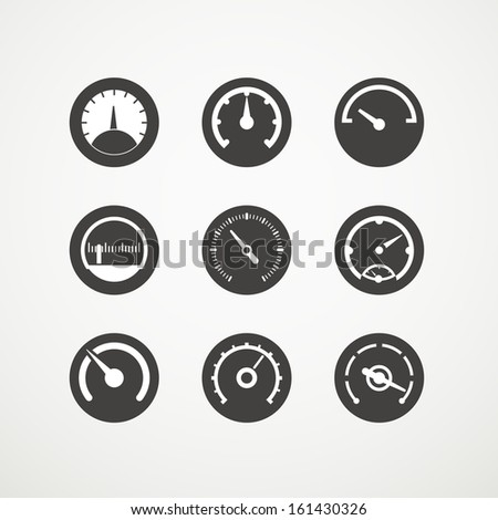 Different slyles of speedometers vector collection - stock vector