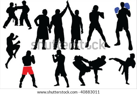 Different sport fighting silhouettes vector - stock vector