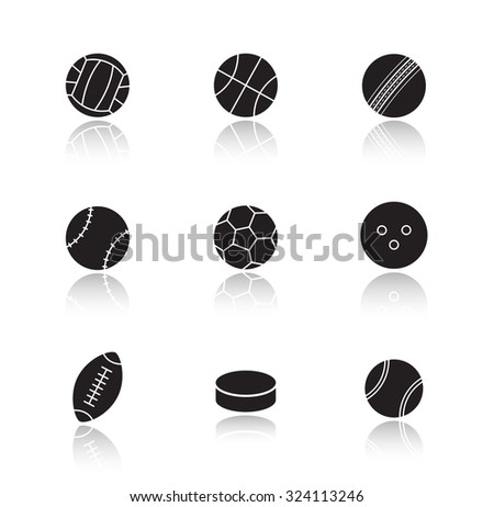 Different sports game balls. Black drop shadow icons set. Active team play games equipment silhouette illustrations. Hockey puck and tennis ball. Vector infographics elements isolated on white - stock vector