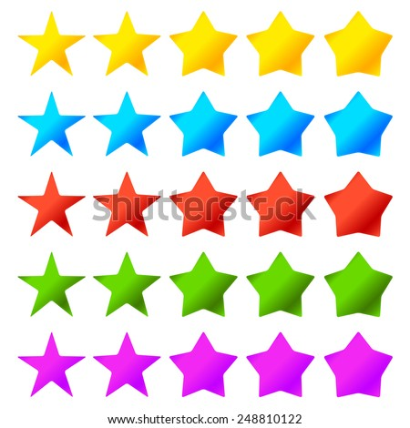 Different Star Shapes. Thinner and thicker version. 5 color presets. - stock vector