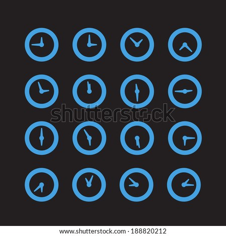 Different status of clocks. Vector collection - stock vector