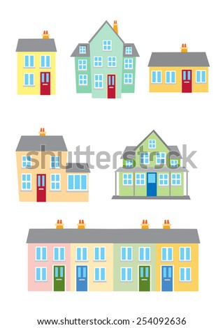 Different styles of housing - stock vector