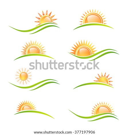 Different Sun at Landscape Collection Over White Background - stock vector