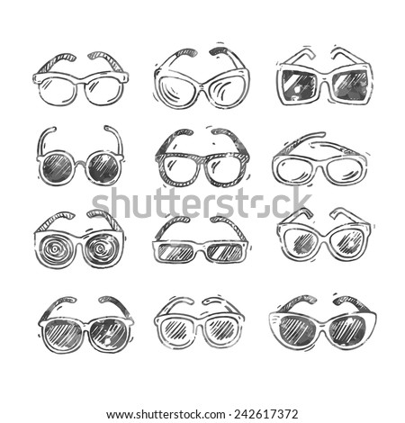 Different sunglasses types, hand drawn doodle style icons set, vector illustration.  - stock vector