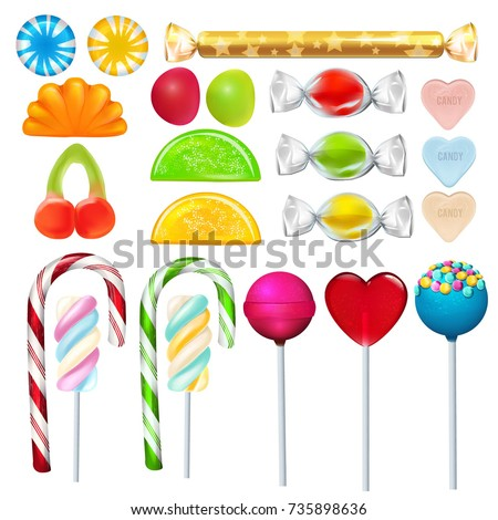 Different sweets and candies from sugar. Realistic vector pictures set. Sweet caramel lollipop, candy dessert snack illustration