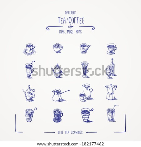 Different tea & coffee cups, mugs, pots. Blue pen drawings - stock vector