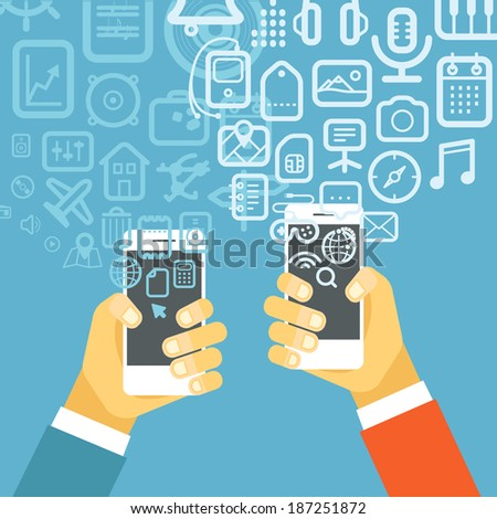 Different techno icons flows into modern smartphones. Design elements - stock vector