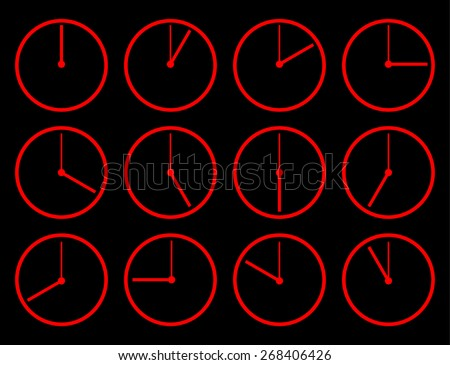 Different times. 24 hours. Watches and arrows. Set of 12 elements - stock vector