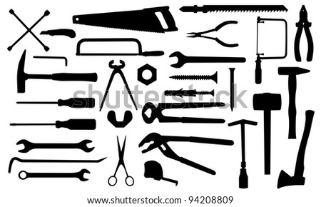 different tools isolated on white