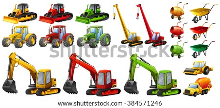 Different tractors and construction equipment illustration - stock vector