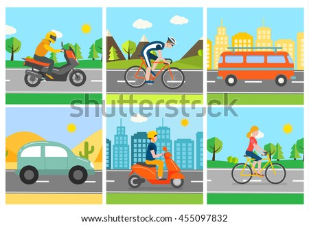Different transport vehicle set in different landscapes, city, nature. With two types of bicycles, van, car,  motorcycle, scooter, vector illustration - stock vector