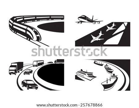 Different transportation scenes - vector illustration - stock vector
