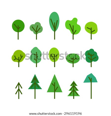 Different tree silhouettes clip-art. Design elements - stock vector