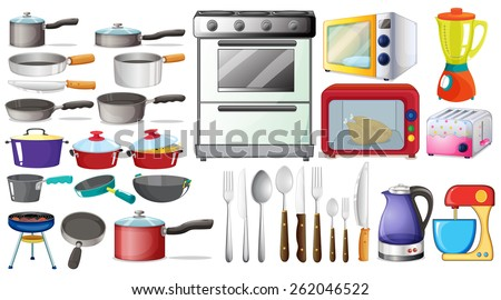 Different type of kitchen objects and electronic devices - stock vector