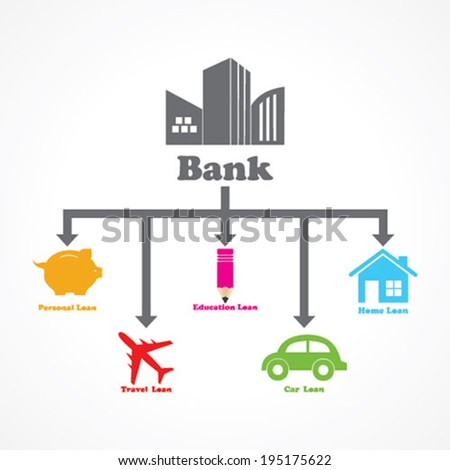 different type of loans given by a bank stock vector - stock vector