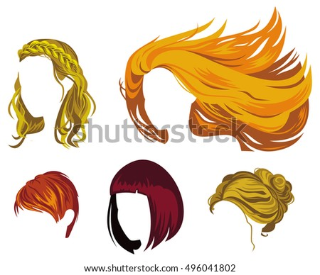 hair style clip set trendy blond hair styling stock vector 25168588 7238