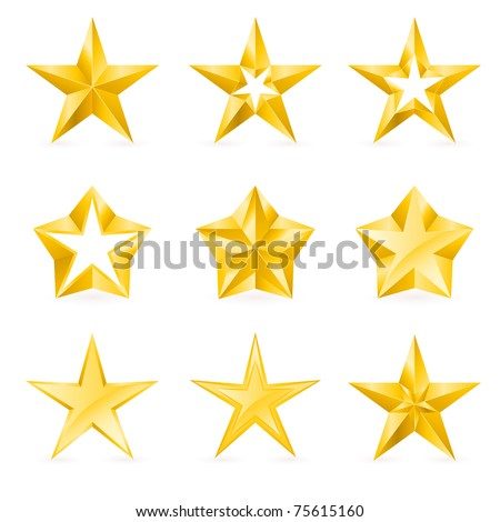 Different types and forms of gold stars. Illustration for design on white background - stock vector