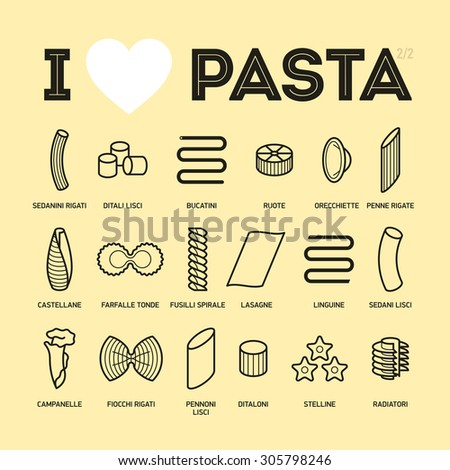 Different types and names of pasta guide vector illustration, part 2/2 - stock vector