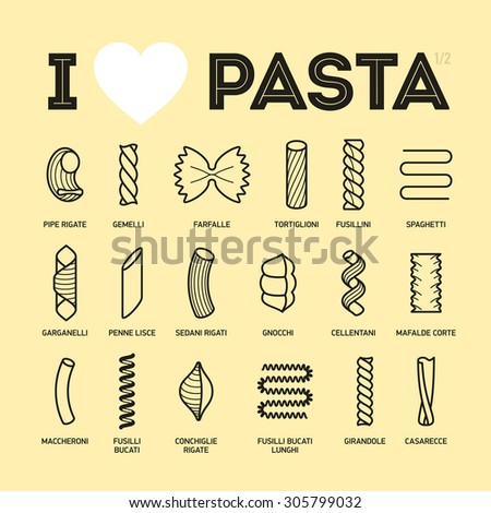Different types and names of pasta guide vector illustration, part 1/2 - stock vector