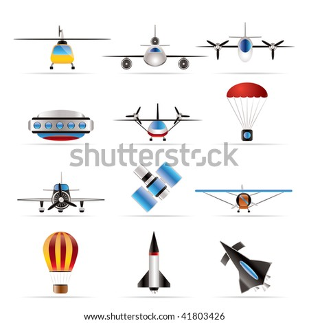 different types of Aircraft Illustrations and icons - Vector icon set 2 - stock vector