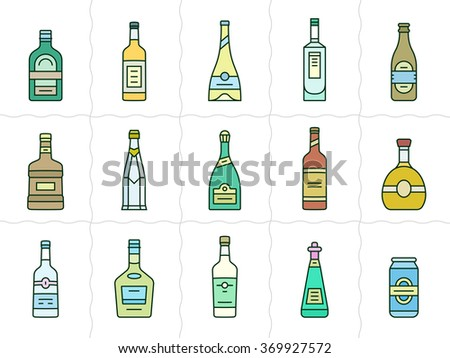 Different types of alcohol. Vector icons of alcohol bottles. Linear style - stock vector