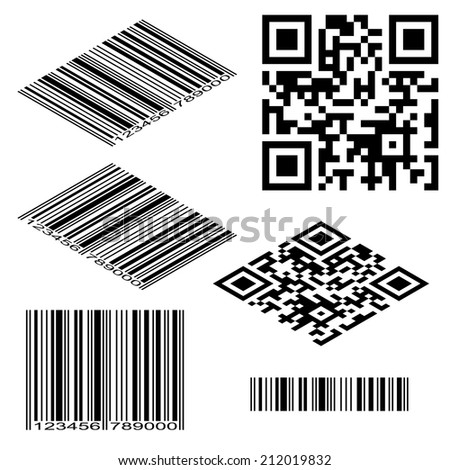 Different types of barcodes. Isometric and flat vectors  - stock vector