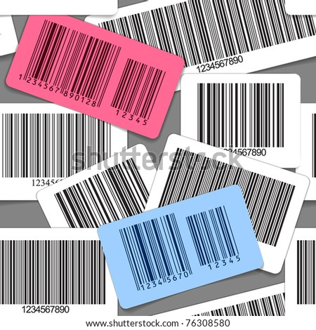 Different types of barcodes seamless background - stock vector