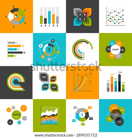 Different types of business charts and infographs icons set isolated vector illustration - stock vector