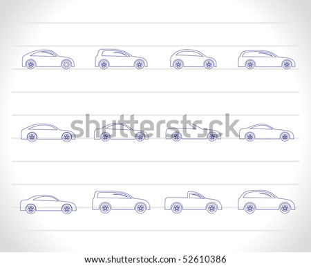 different types of cars icons - Vector icon set - stock vector